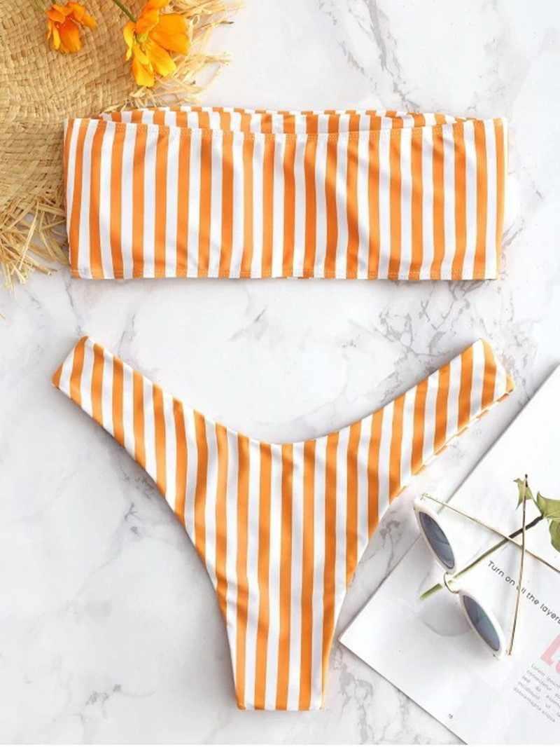 Gorąca sprzedaż Bikini w paski zestaw strój kąpielowy dla kobiet 2020 nowy Push Up Micro strój kąpielowy brazylijskie stringi seksowne stroje kąpielowe kobiety Bikini