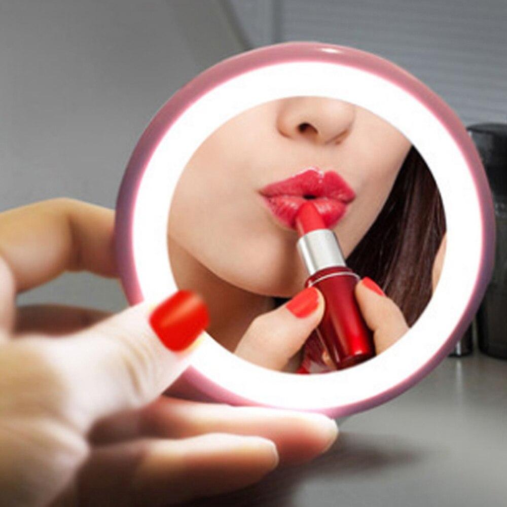 Led lusterko do makijażu mini przenośne lusterko do twarzy regulowany dotykowy ściemniacz Led lusterko kosmetyczne kieszonkowe kompaktowe lusterko kosmetyczne