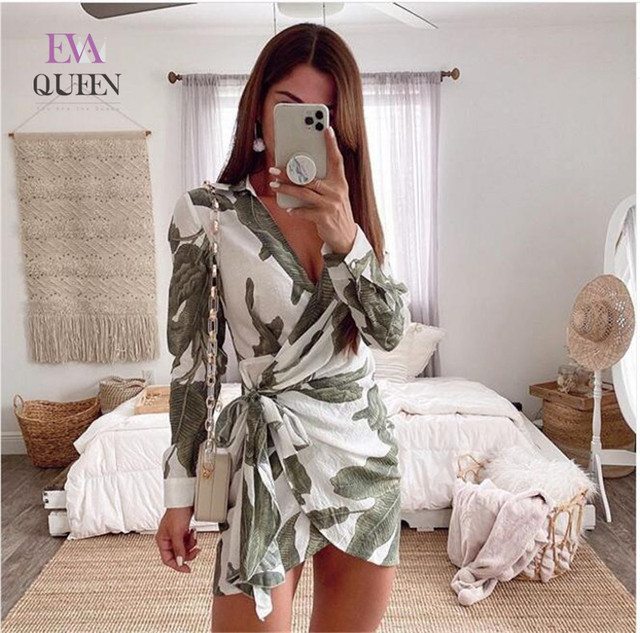 EvaQueen Leaf Print Elegant Dress V Neck High Waist Tie Bow Slim Mini Dresses Female Long Sleeves Summer Sexy Bodycon Vestidos 1