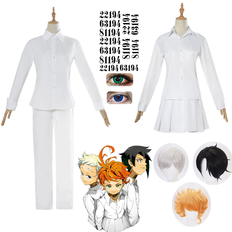 The Promised Neverland Cosplay Costume Student Uniform Emma Norman Ray Cosplay Wig Washable Tattoo Stickers NO.22194/63194/81194