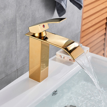 Bathroom Waterfall Basin Sink Faucet Black Faucets Brass Bath Faucet Hot&Cold Water Mixer Vanity Tap Deck Mounted Washbasin tap 10