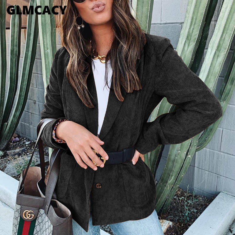 Women Streetwear Turn-down Collar Pockets Single Breasted Blazer Autumn Casual Solid Slim Long Sleeve Sport Coats