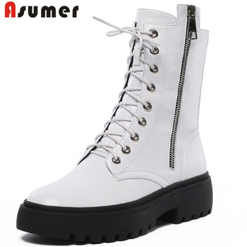 ASUMER 2020 new arrival genuine leather ankle boots women round toe zip lace up autumn winter platform boots casual shoes woman