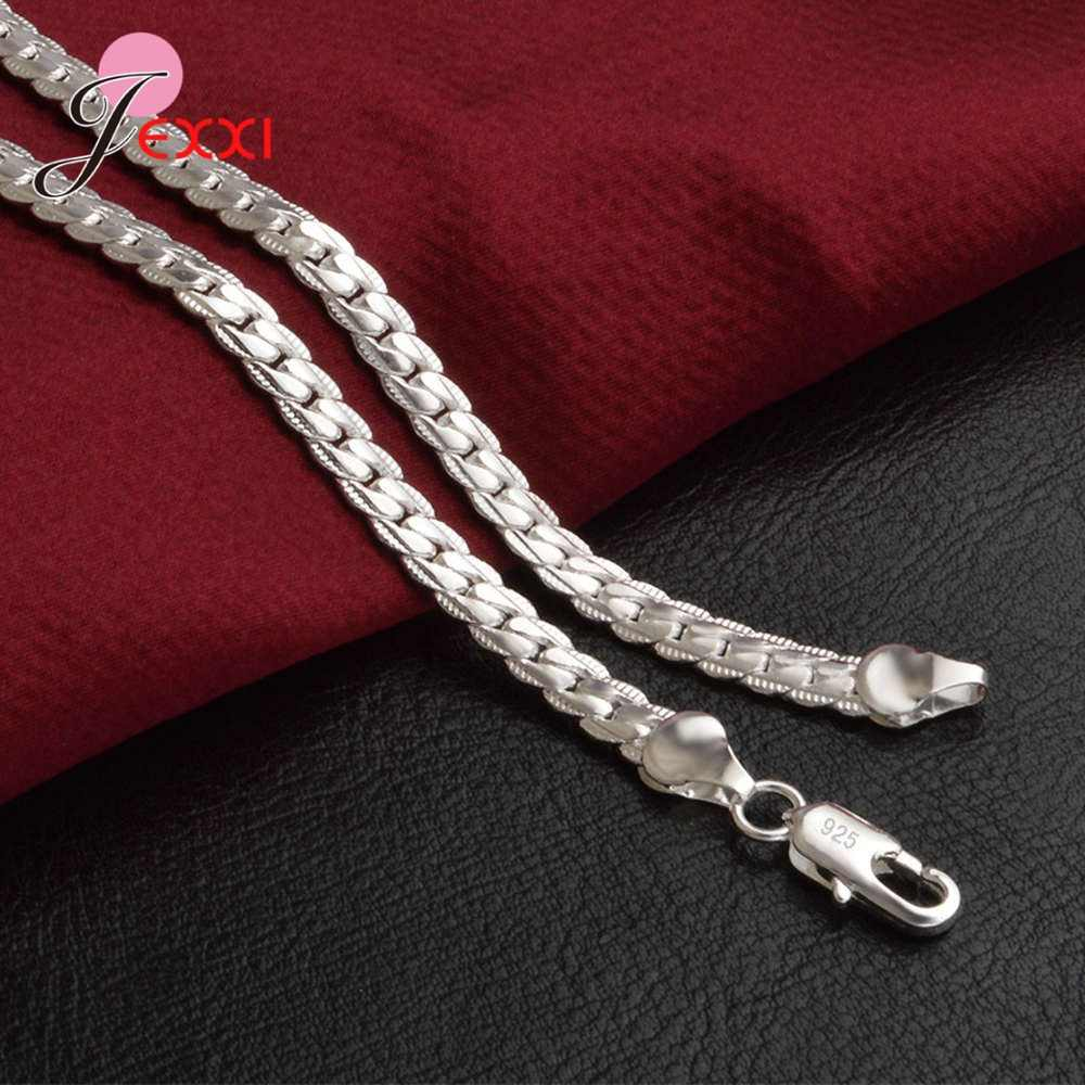 925 スターリングシルバーネックレス人気の縁石チェーンリンク男性女性チョーカー S925 シルバー男性女性ファッションアクセサリー高品質