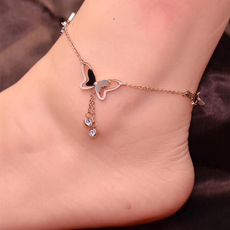 Aliexpress จี้ผีเสื้อ Anklets เท้าฤดูร้อนโยคะชายหาดขาสร้อยข้อมือ Handmade สร้อยข้อมือ Rose Gold เงินเครื่องประดับ