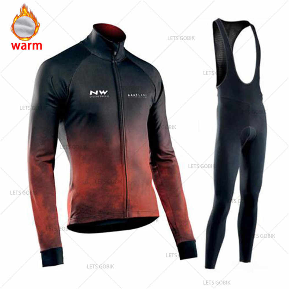 NW Winter Cycling Jersey Pro Team Ropa Ciclismo Hombre Fleece Cycling Set MTB Cycling Clothing Northwave Cycling Bib Pants Set