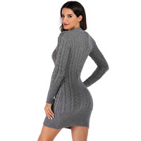 2019 New Women Pure Colour Autumn Winter Long Sleeve Knitted Sweater Dress Vintage Office Hight Quality Dress Vestido