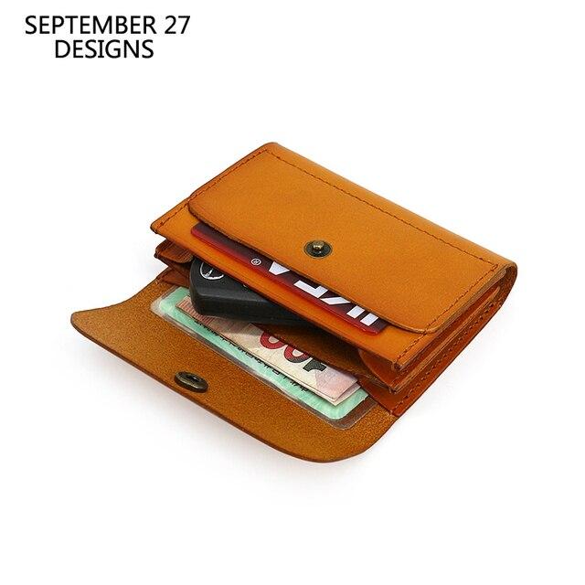 Carteiras de cartão de crédito couro genuíno artesanal id bus bolsa de cartão de licença dos homens de couro mini cintura bolsa de moedas