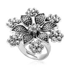 Anillo Vintage de plata antigua con flores para mujer, bandas de boda con diamantes de imitación, bohemio, bohemio, gitano, Tribal, nepalí, joyería