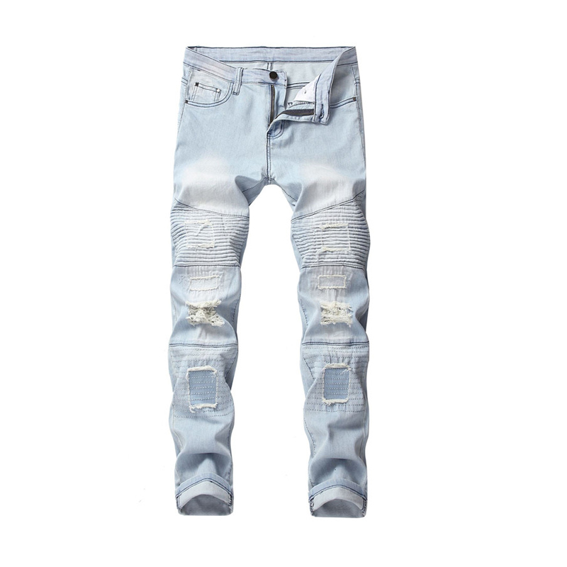 Jeans Men 2019 New Men's Motorcycle Light Jeans Men's Embroidered Patch Hole Trousers More Sizes 28-38