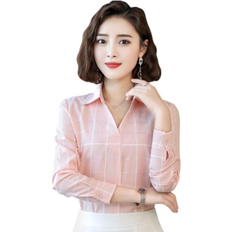 Long-sleeved Plaid Shirt Female 2020 Spring New Korean Loose Elegant V-neck Shirt Fashion Casual Temperament