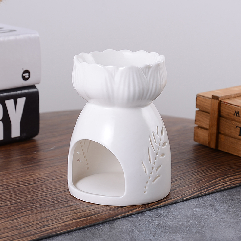 Ceramic Wax Incense Burner Lotus Hollow Small Aromatherapy Stove Candle Spa Essential Oil Burner Home Fragrance Decorations image
