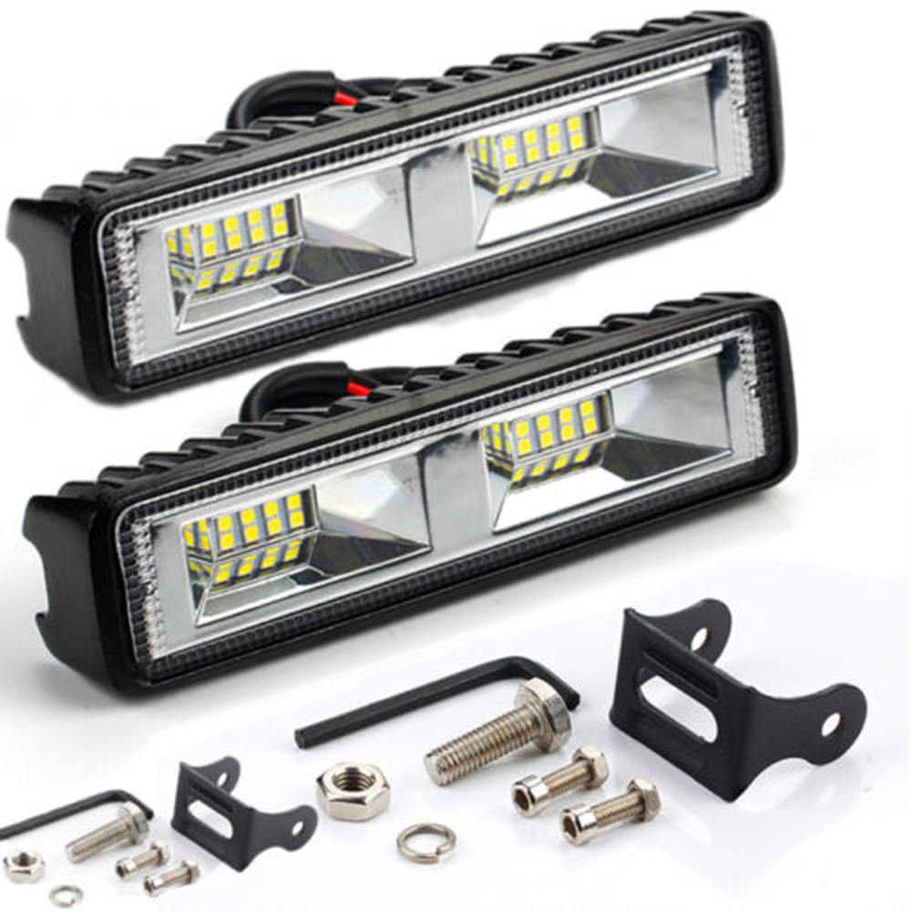 2 Pcs 48W 12V 24V <font><b>16</b></font> <font><b>LED</b></font> <font><b>Work</b></font> <font><b>Light</b></font> Spot Fog Lamp Truck Off-Road ATV SUV 4WD Car Accessories image
