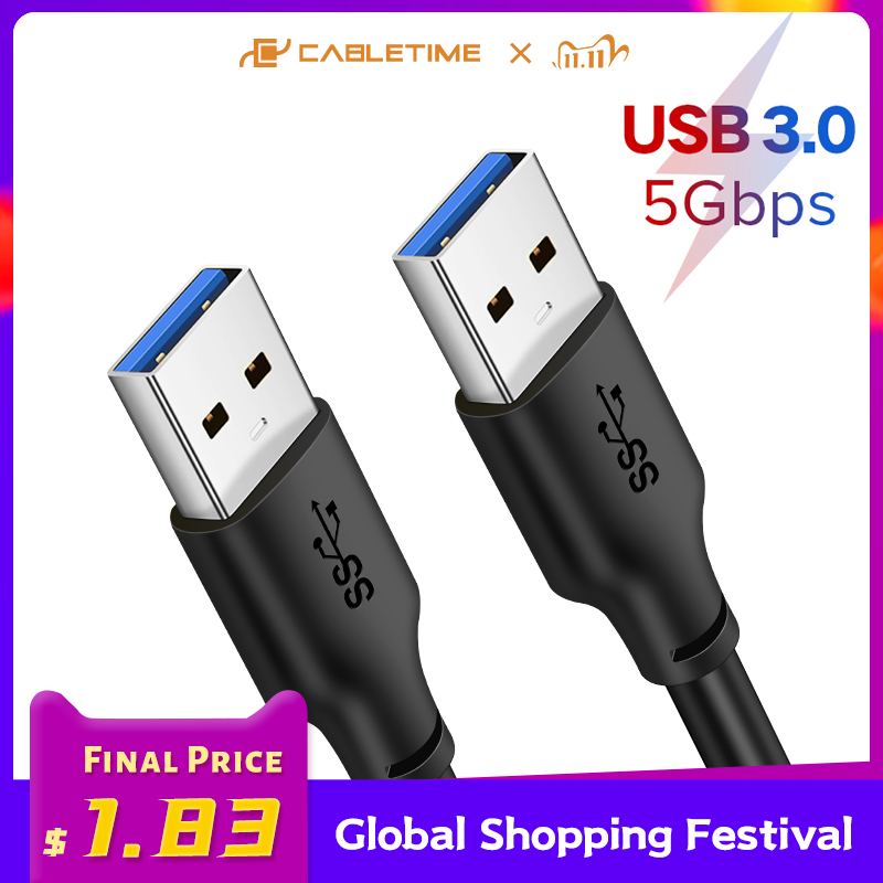 CABLETIME USB to USB A Male Cable 5Gbps USB A Male USB 3.0 Extender for Radiator HardDisk USB 3.0Cable C266