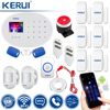 KERUI Wireless Home Alarm Security Protection WIFI+GSM Security Alarm System With Door bell Emergency Button Sensor Detector 1