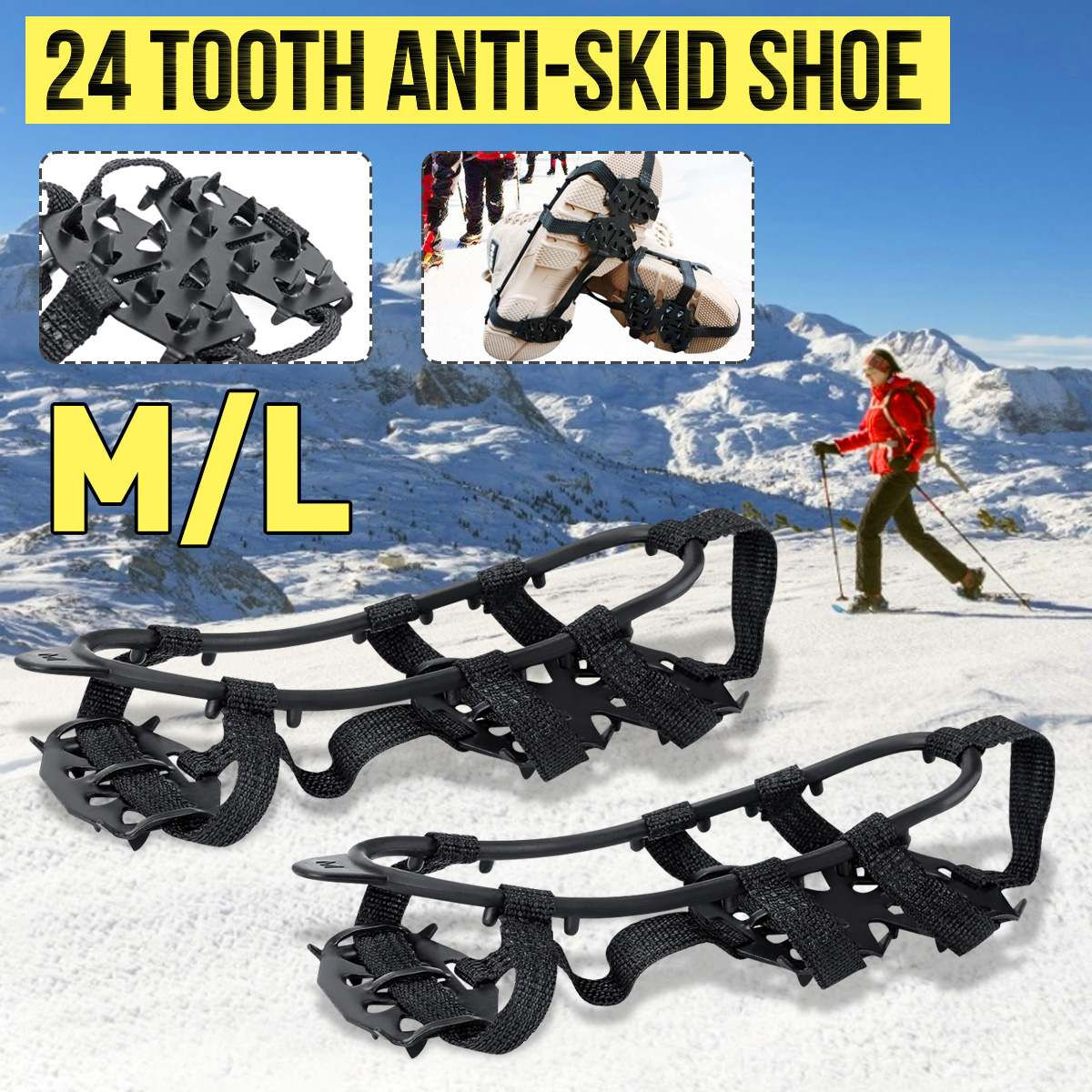 24 Teeth M/L Anti-Skid Spikes Cleats Ice Snow Crampons Gripper Shoe Snow Chain Anti Slip Shoe Covers Winter Climbing Skiing