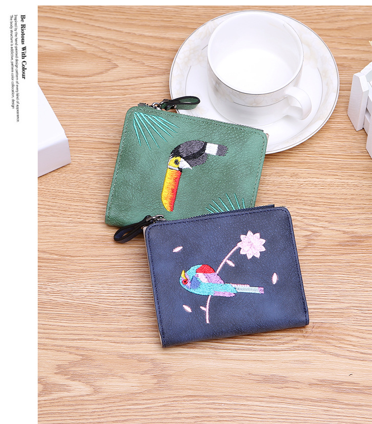 H393f40ab2b6748648564834472db287dn - Women's Coin Wallet | Bird Embroidered