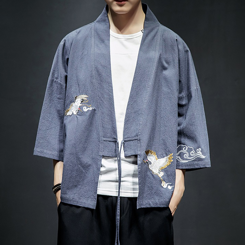 Haori Crane Embroidery 2020 News Japanese Style Asian Clothes Vintage Traditional Clothing Men Women Plus Size Samurai