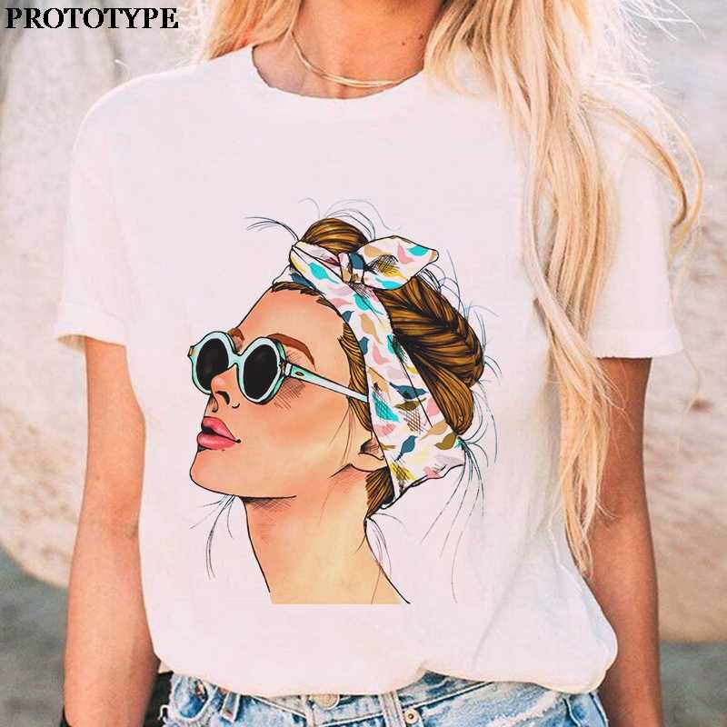 Oversized Witte T-shirt Voor Vrouwen Zomer Vogue Print Top Casual Femme Harajuku T-shirts Streetwear Zara Vrouw 2020 Losse Tops