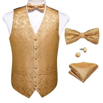 New Teal Green Paisley 100% Silk Formal Dress Vest Men Waistcoat Vest Wedding Party Vest Tie Brooch Pocket Square Set DiBanGu 32