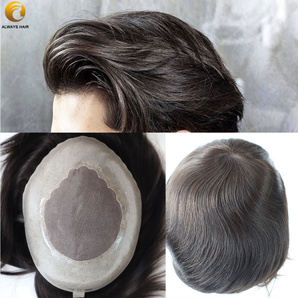 100% Indian Remy Human Hair Men Toupee Wig Real Natural Durabilit Straight Hair Toupee For Men Free Style 6 Inch 130 Density