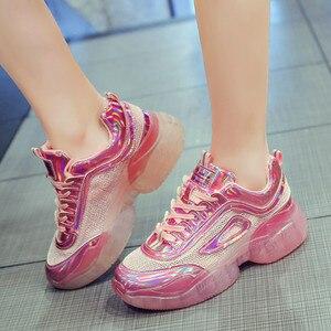 Image 4 - Fashion Sneakers Women Shoes New Women Vulcanize Shoes 2019 Platform Shoes Women Flats Female Chunky Sneakers Walking Shoes