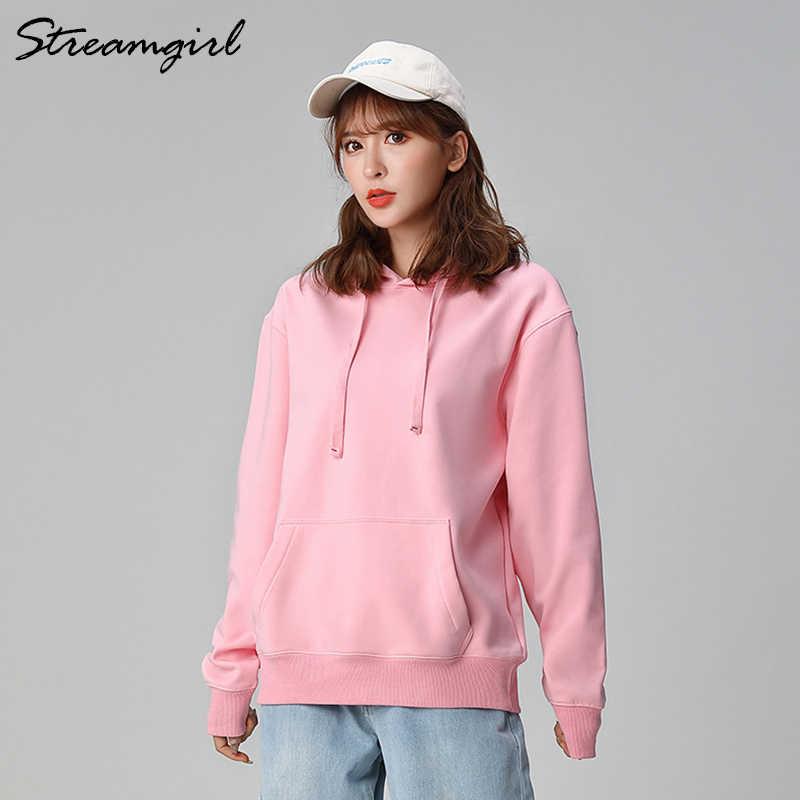 여성용 스웨터 코튼 오버 사이즈 후드 및 스웨터 후드 옐로우 코튼 후드 여성용 오버 사이즈 핑크 스웨트