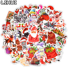 50 PCS Merry Christmas Stickers Gifts for Kids Santa Claus Decal Xmas Tree Cute Sticker Decor Scrapbook Laptop Skateboard Guitar(China)