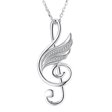 Strollgirl 100% 925 Sterling Silver Love Music Pendant Chain Note Horn Wing Necklace Women Valentine Jewelry Gifts Free Shipping