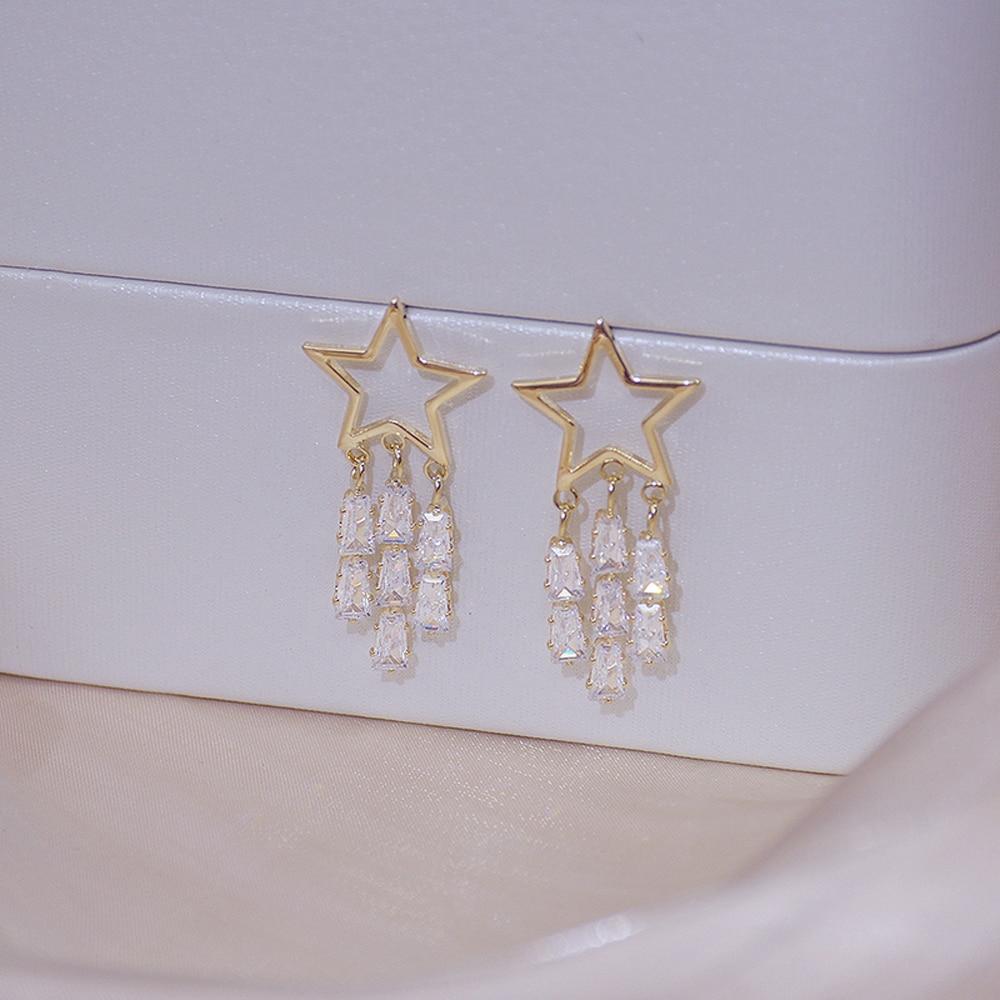 New Shine Tassel Crystal Star Women Stud Earring Hollow Out Zircon Earring Bohemia Wedding Fashion Jewelry