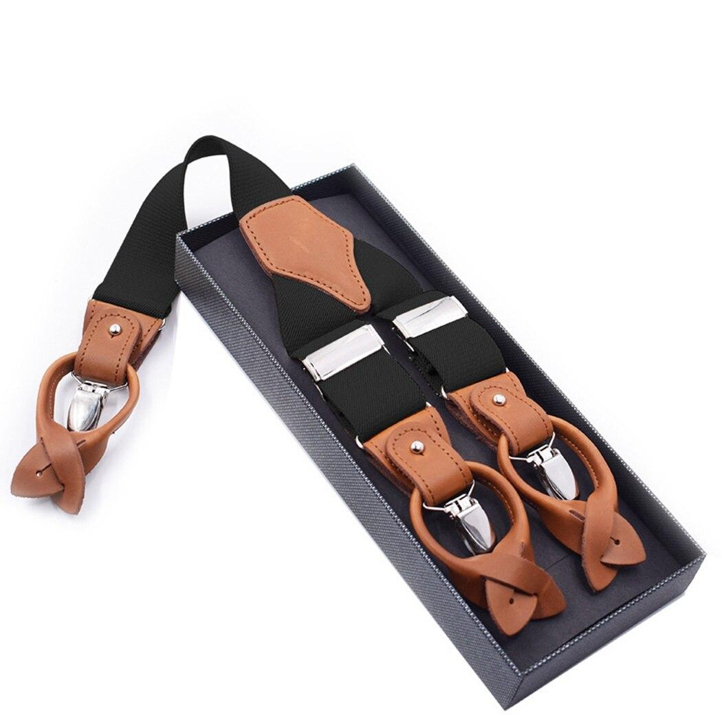 Unisex Retro Outdoor Suspenders Men Accessories Adjustable Buckle 6 Button Suspender Elastic Y-Shape Strap Pants Trousers
