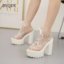 BYQDY Fashion Ankle Boots Woman White Platform Heels Shoes Round Toe Lacing Summer Shoes PVC High Heels Female Boots Wholesale women ankle leather boots split toe round heels splited toe lady shoes woman high heels female boots ninja tabi boots