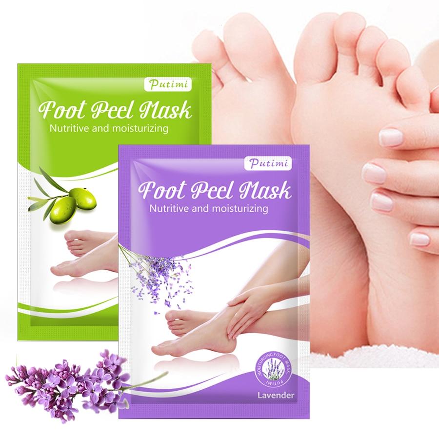 PUTIMI 4pcs=2pack Exfoliating Foot Mask Pedicure Socks Exfoliation For Feet Mask Remove Dead Skin Heel Foot Peeling Mask For Leg