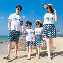 Family Matching Outfits Summer Dad Son T-shirt+Shorts Mom and Daughter Matching Mini Dress Family Look Couple Matching Clothing(China)