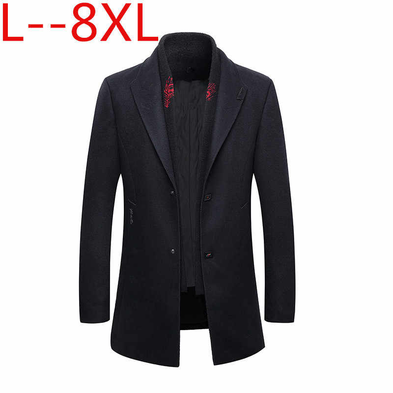 8XL 6XL 5X 남자 가을, 겨울 울 재킷 이동식 퀼트 라이닝 버튼 울 혼합 완두콩 코트 두꺼운 패딩 자켓 코트 남자