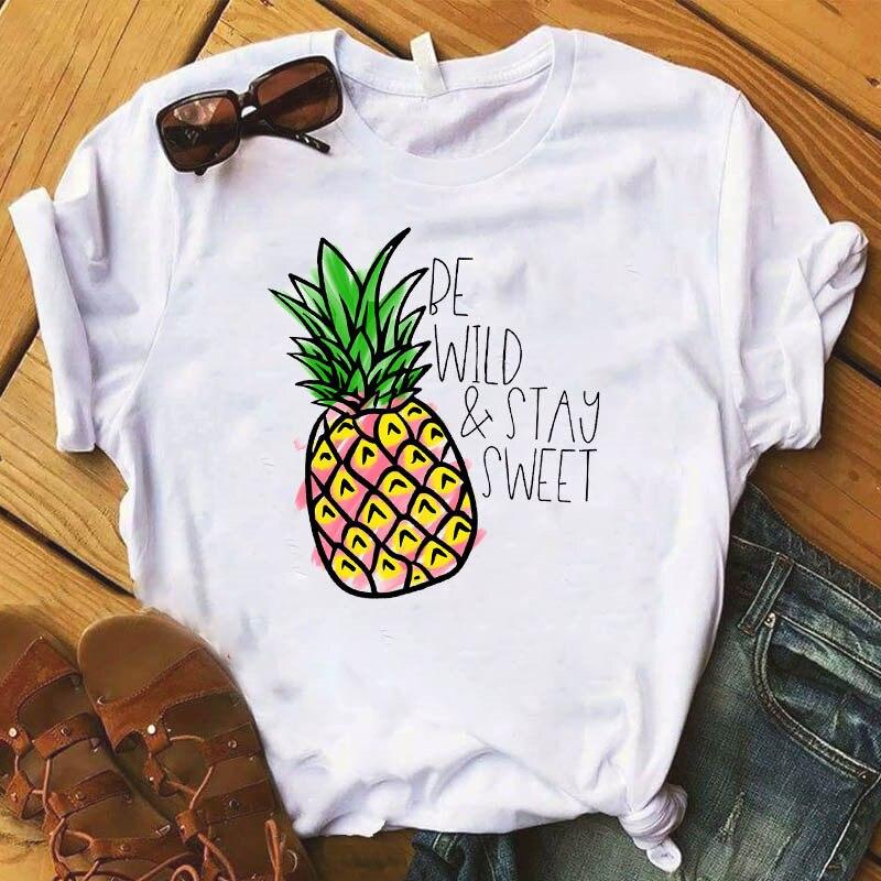 Ananas owoce odzież T-shirt moda trójnik żeński Top graficzny T koszula kobiety Kawaii Camisas Mujer ubrania 2019 4
