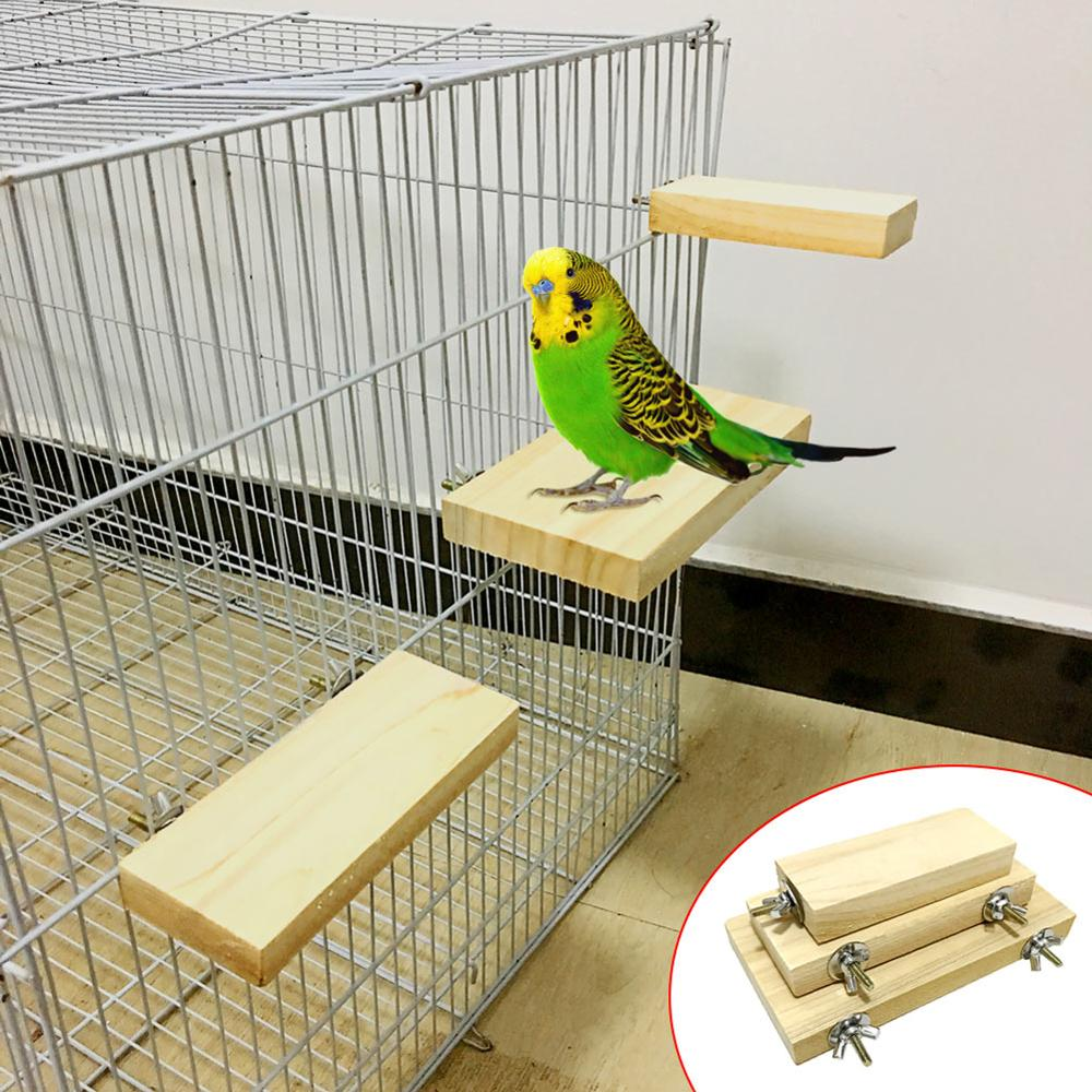 Wood Stand Platform Toy Paw Grinding Clean Cage Accessories For Parrot Hamster  K888