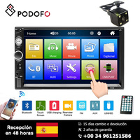 Podofo Car radio 2 Din 7'' HD Player MP5 Touch screen Digital stereo FM radio semi automatic Bluetooth with Rear view camera