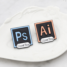 Illustrator Photoshop Pins I Love You Brooch Toolbar Lapel Pin AI PS Enamel Brooches for Designers and Artists