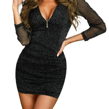 Sexy Summer Casual Women Dress & Club V-Neck Long Sleeve Party Night Sequin Elegant New Clothes 2019