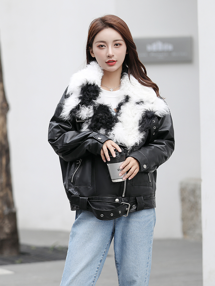 100% Real Sheepskin Coat Female Winter Natural Fur Collar Duck Down Leather Jacket Women Korean Genuine Leather Coat 1901