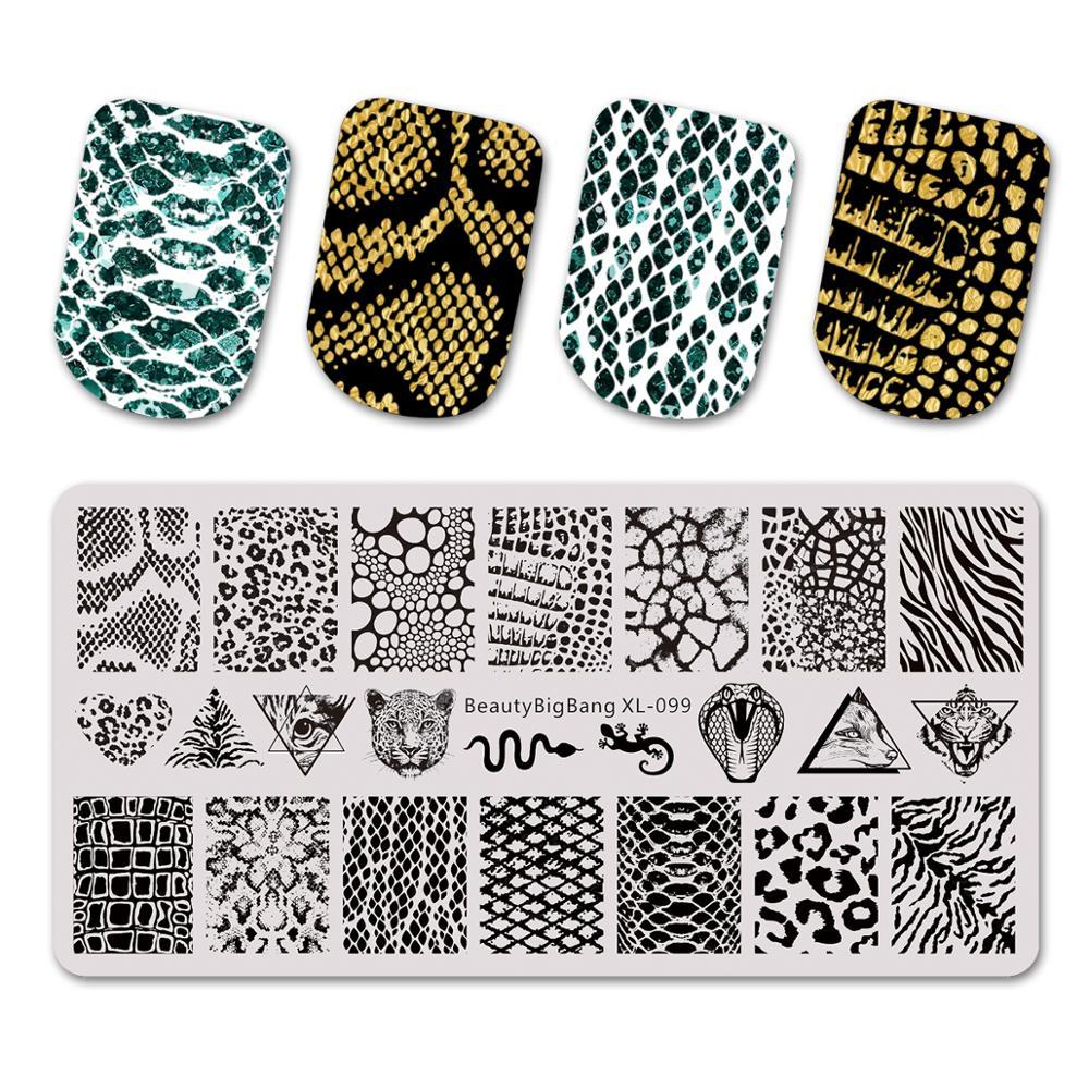 Beautybigbang Nail Stamping Plates Natural Animal Snake Scale Flower Wolf Theme Image 12*6cm Template Mold Nail Art Stencil