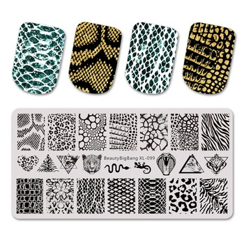 Beautybigbang Nail Stamping Plates Natural Animal Snake Scale Flower Wolf Theme Image 12*6cm Template Mold Nail Art Stencil недорого