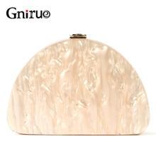 新ファッション半円財布女性メッセンジャーアクリルベージュ固体ディナーハンドバッグ女性のイブニングバッグ流行パーティークラッチ財布