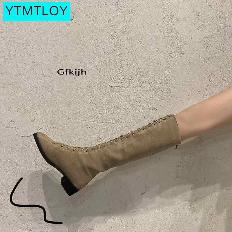 2019 ใหม่ผู้หญิงรองเท้าเข่ารองเท้าส้นสูงหนารองเท้าสุภาพสตรี Elegant แฟชั่นฤดูหนาว Warm Comfy รองเท้า Lace-up รองเท้า
