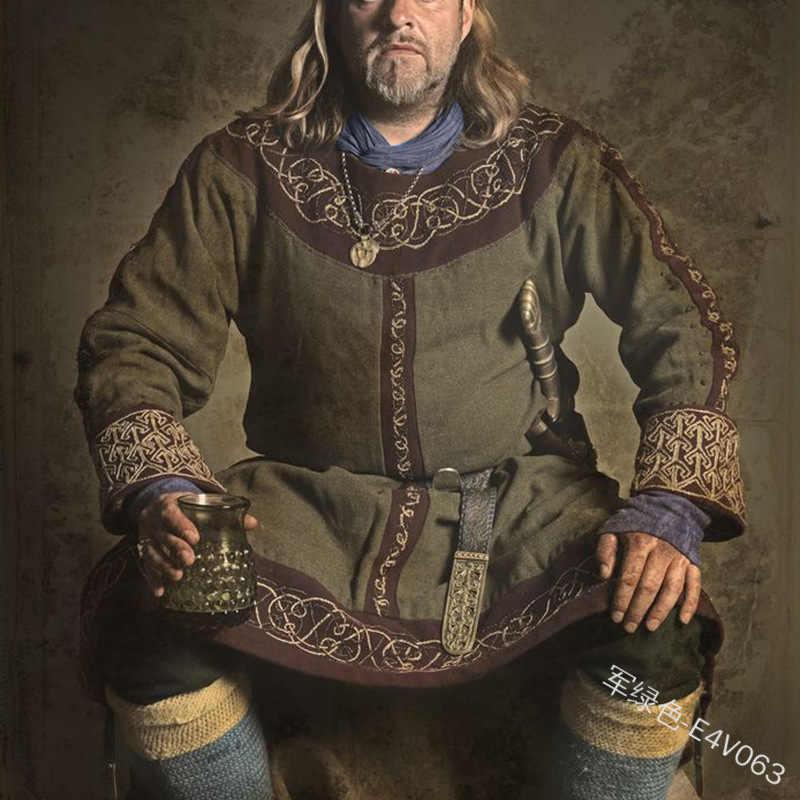 Medieval Viking Men Tunic Tops Shirts Knight Pirate Halloween Cosplay Costume