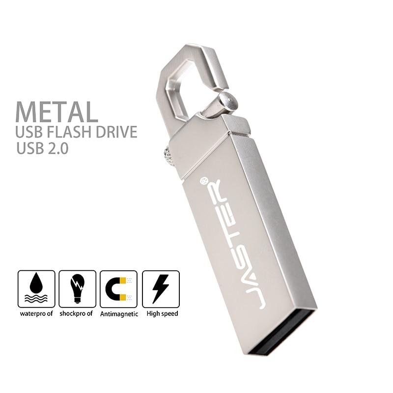 JASTER (over 10PCS Free LOGO) USB 2.0 Metal Carabiner Model Usb Flash Drive 4GB 8GB 16GB 32GB 64GB 128GB Pendrive Memory Stick
