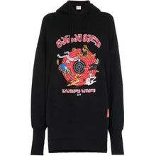 Autumn 2019 New Black Sweatshirt with Cartoon Embroidery Hat Cotton Guard Women Clothes Fashion