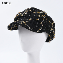 USPOP 2019 New fashion autumn caps women tweed octagonal hats female plaid newsboy visor cap