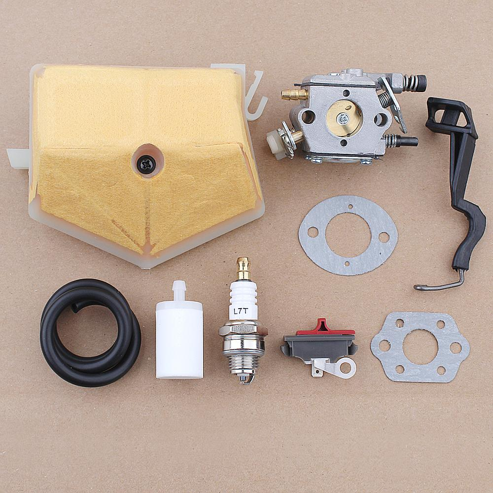 Carburetor Switch Fuel Air Filter Line For Husqvarna 55 50 51 Chainsaw 503281504 530717901 w Coke Rod Lever Gasket Spark Plug